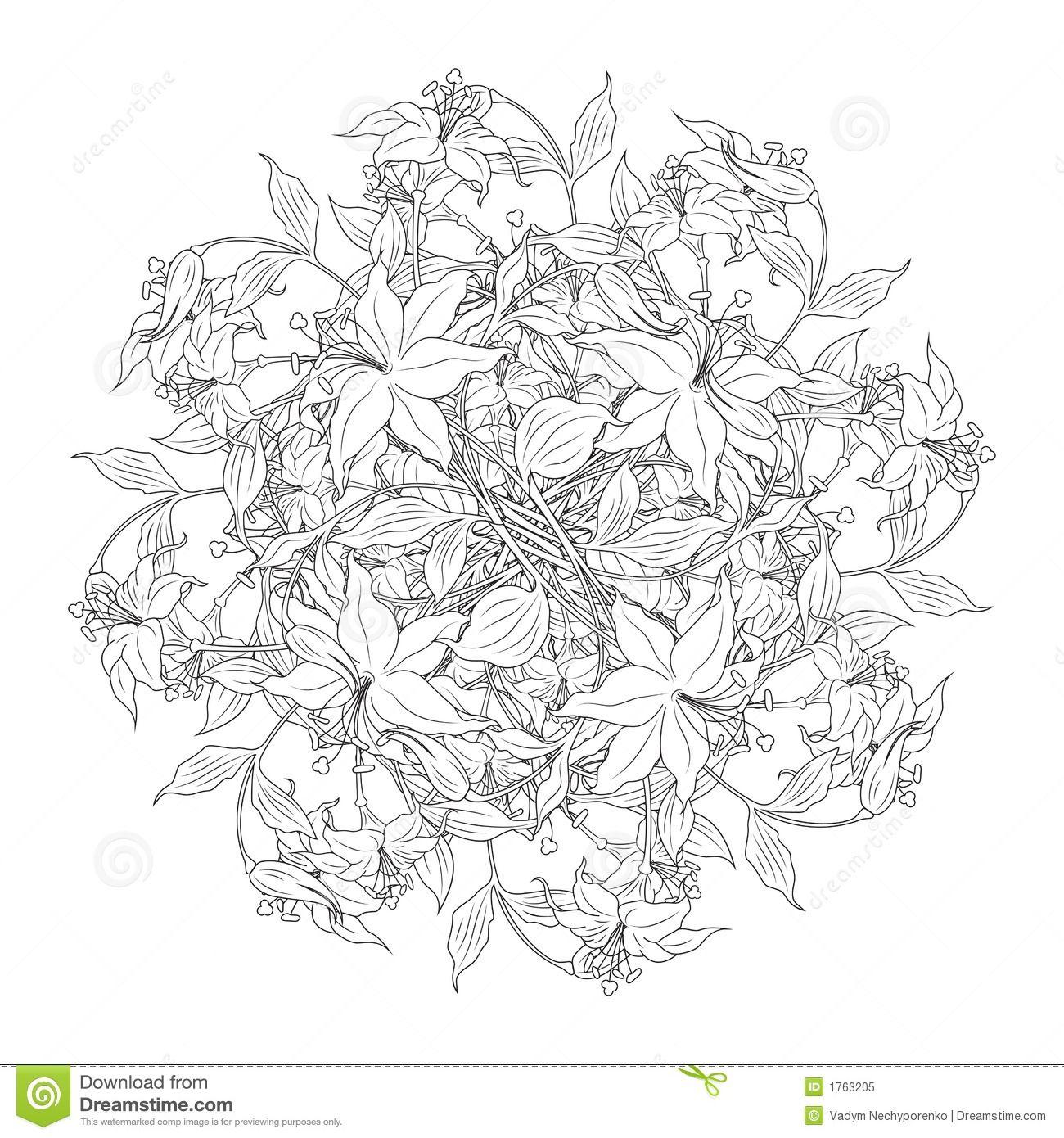 bouquetflowersblackwhitecolorsvectorillustratio