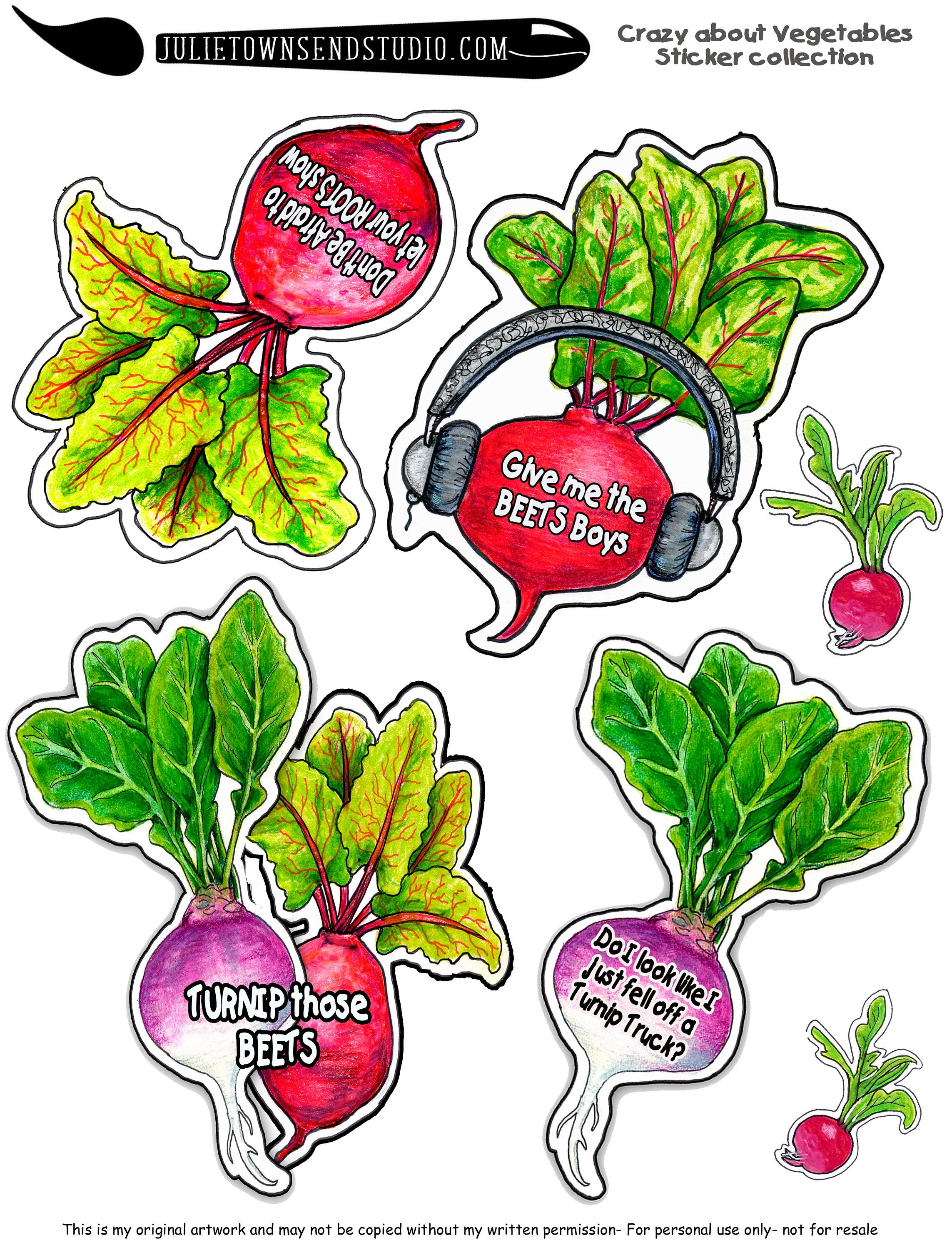 Downloadable Funny Homemade Stickers, Colorful Vegetable