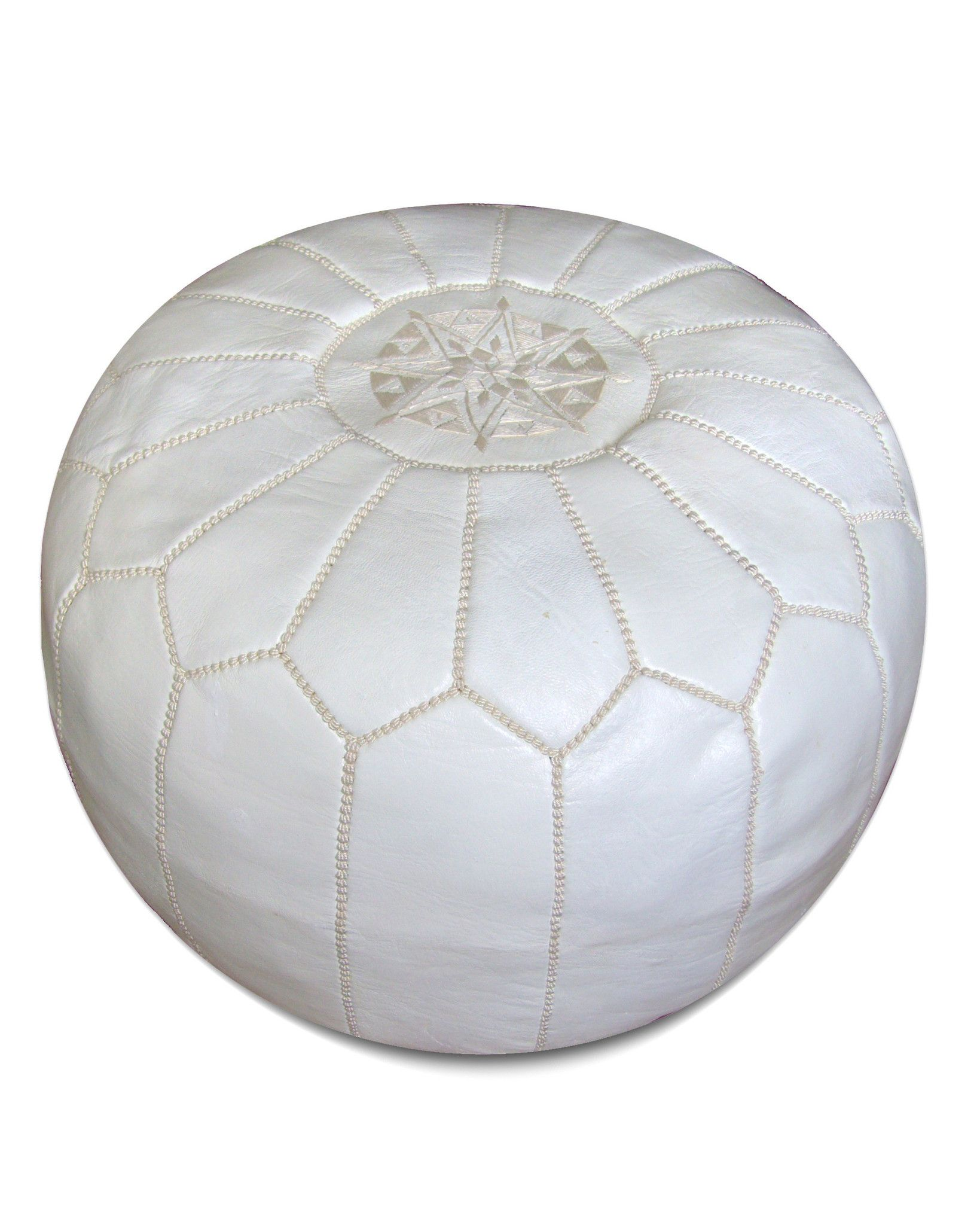 Moroccan Pouf in White