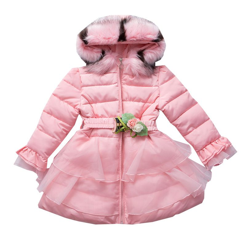 9a66ed1f7d44 Girls Winter Coat Thicken Warm Fur Hooded Down Jacket for Girls Long ...