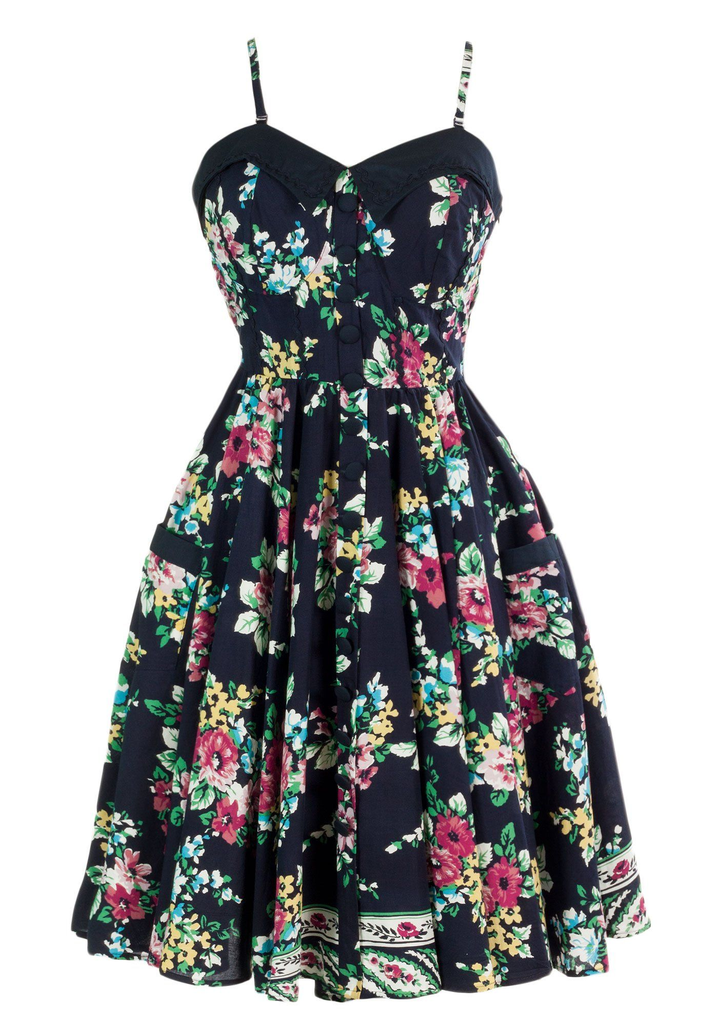 Sidecca Floral Garden Rick Rack Fold Over Dress at Amazon Women's Clothing store:
