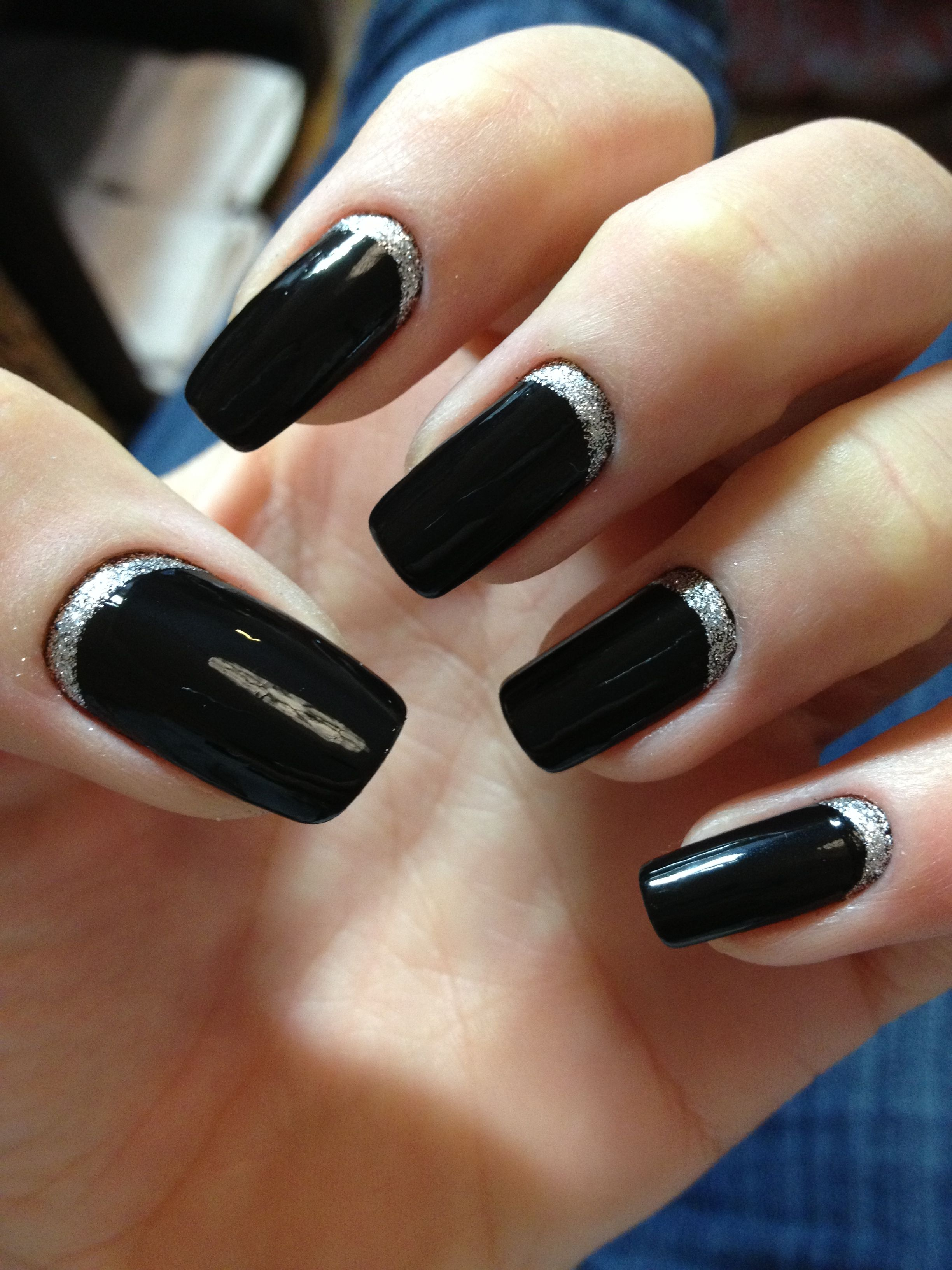 Glitter moon nails!