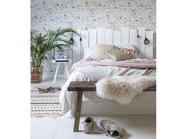 parete letto in mattoni bianchi a vista bedroom aesthetic pinterest schlafzimmer. Black Bedroom Furniture Sets. Home Design Ideas