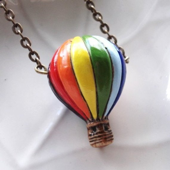 Hot Air Balloon Necklace Ceramic Bead On Antiqued Br Chain Jewelry French Ephemera Ca