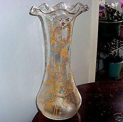 INCREDIBLY Beautiful ART NOUVEAU Glass VASE Gilt HAND PAINTED Rococo FLORIFORM
