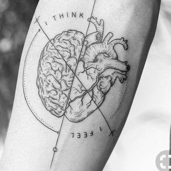 Heart and brain tattoo on the right forearm – Easter