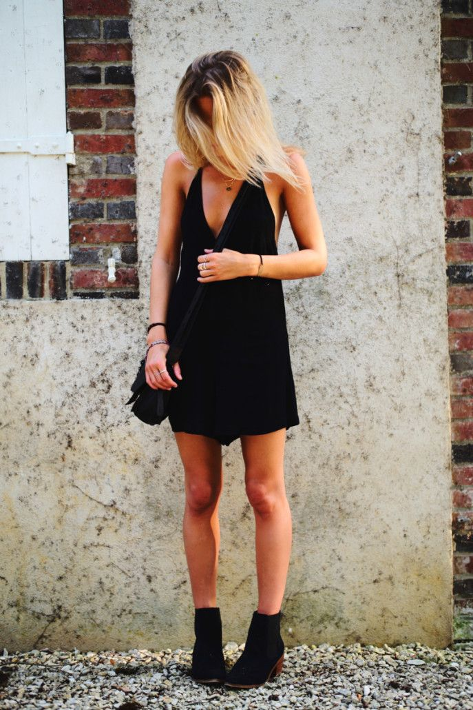 LBD and booties. London. #FashionMeNow
