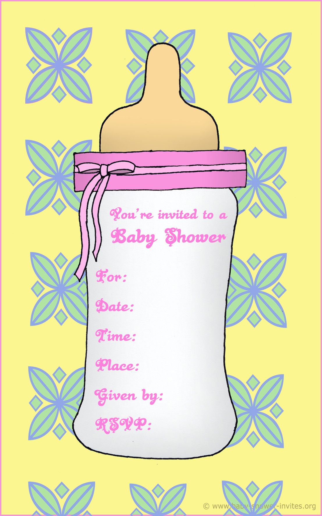 Nice Free Printable Baby Bottle Baby Shower Invitation Template ...