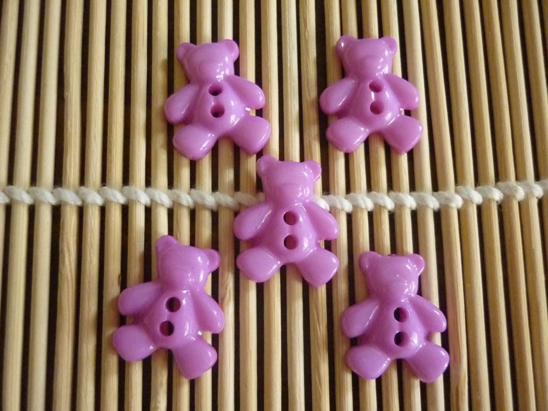 Boutons nounours plastique mauve, vendus par 5. : Boutons par laboiteabijouxnanny
