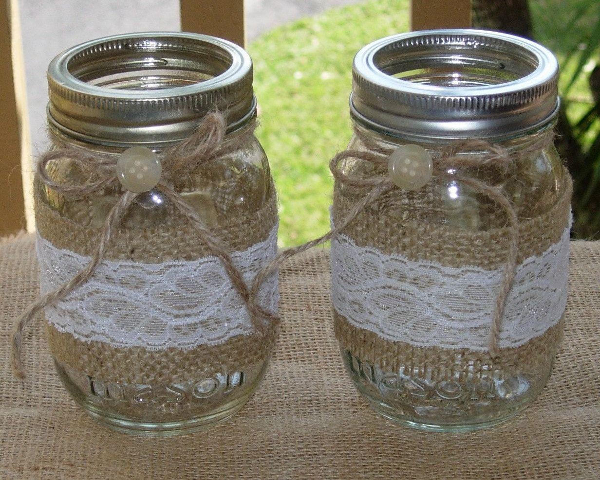 Burlap and Lace Mason Jar candle by