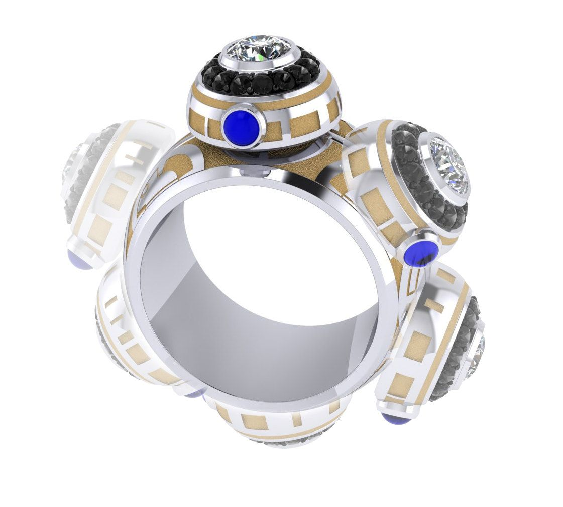 The Ultimate Bb8 Ladies Spinner Ring Starwars Inspired Fully Kinetic,  Engineered Jewelry By Paulmichaeldesign On