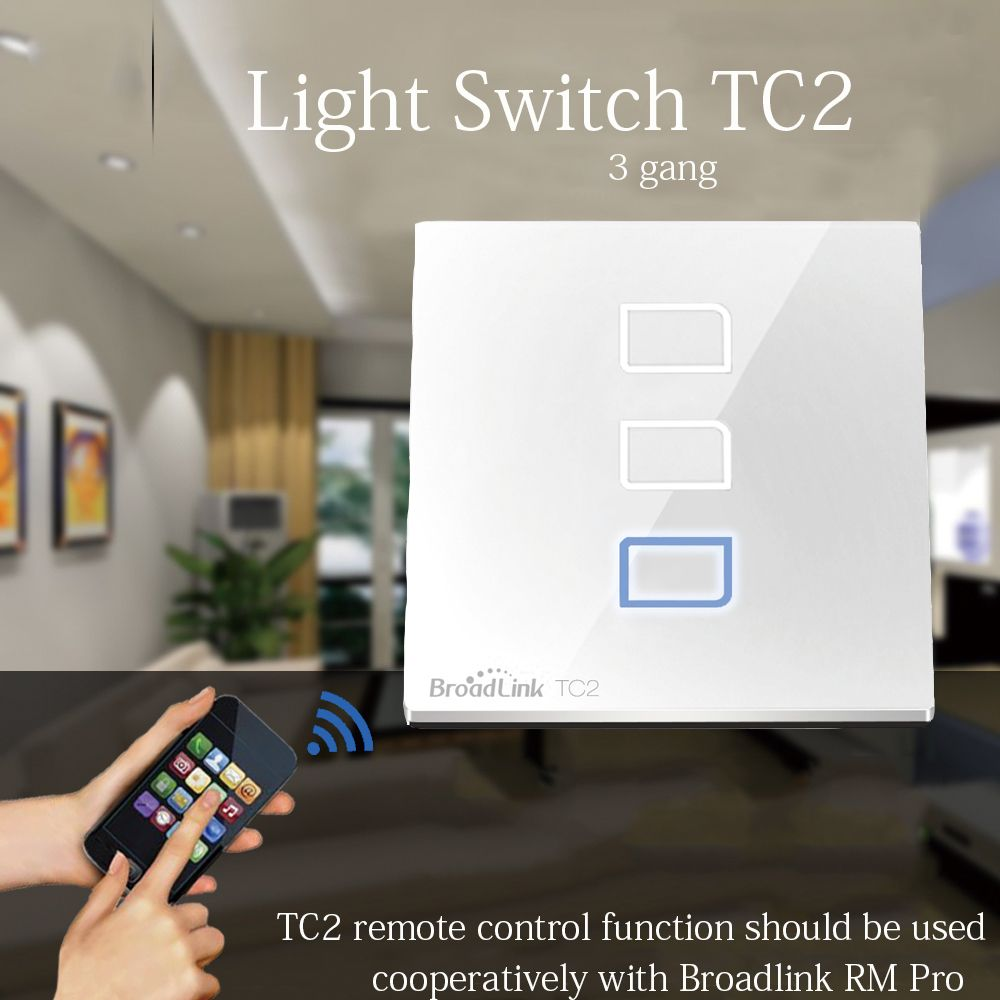 Broadlink TC2 3 Gang Wireless Remote Control Switch Wifi Wall Light ...