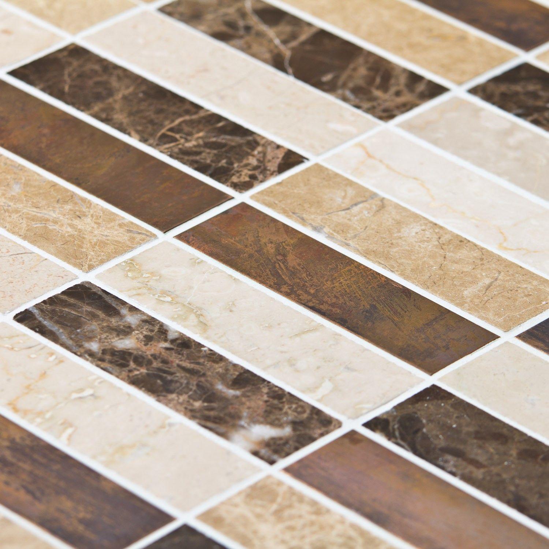 Carrelage Beige Et Marron mosaïque carrelage marbre mixcolor emparador lamelles