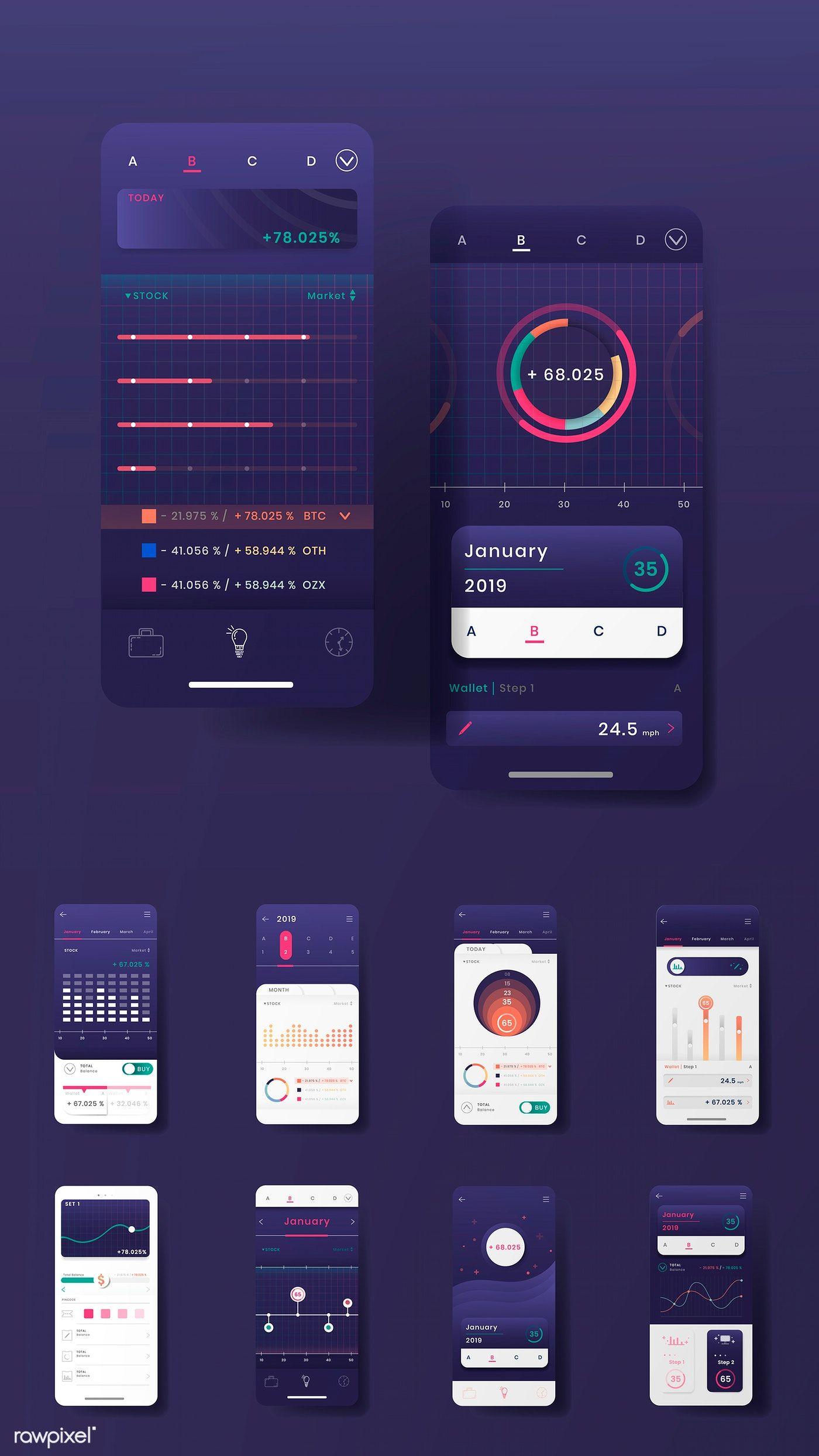 Download Premium Illustration Of Dark Purple Stock Trading Infographic Infographic Templates Infographic Templates