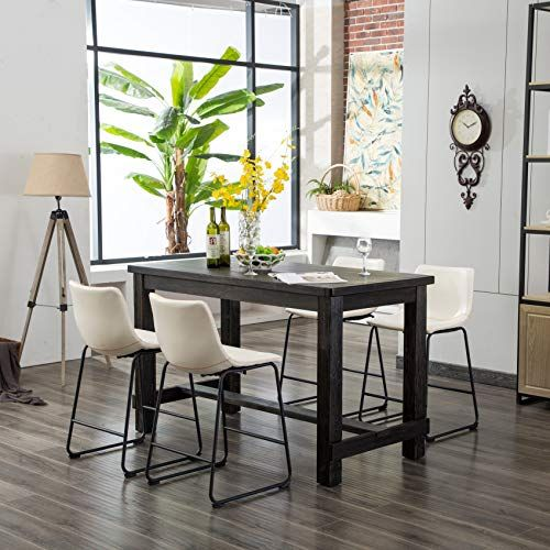 Furnituremaxx Bronco Antique Wood Finished Counter Height Dining Set