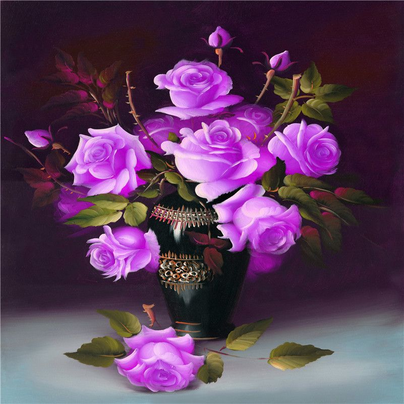 5d Diamond Embroidery Diamond Mosaic Picture Purple Rose Flowers Basket 3d Diy Diamond Painting Cross Stitch N Cross Paintings Diamond Painting Diamond Mosaic