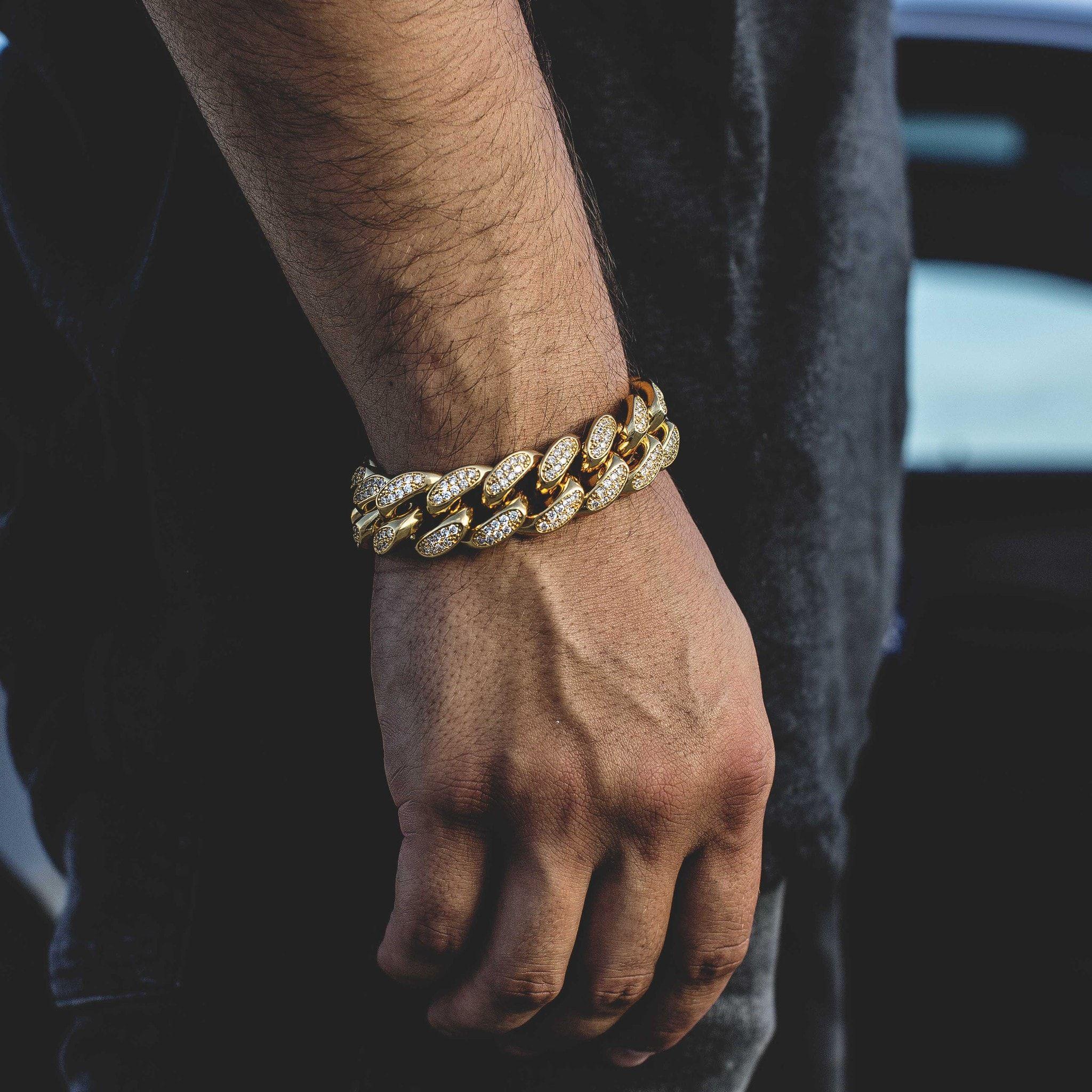 Diamond Cuban Link Bracelet 19mm In Yellow Gold Mens Gold Bracelets Bracelets For Men Chains For Men