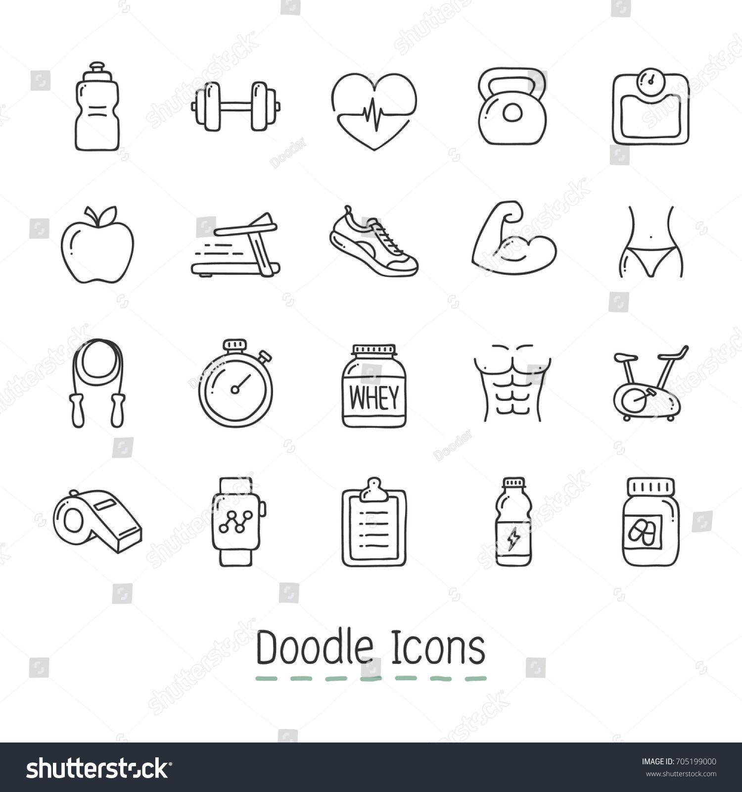 Doodle Health And Fitness Icons Hand Drawn Icon Set