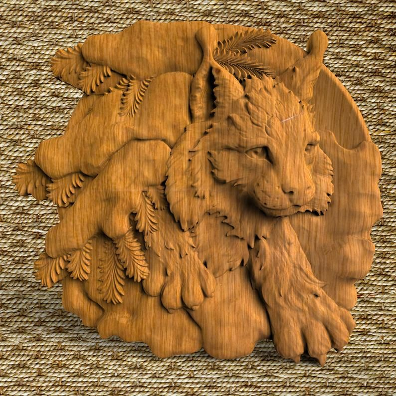 Fox Ornament Wood wall Plate nature wood wall round art  Wooden  Wall decorative animals Wall  home decor pediments Gifts for hunters