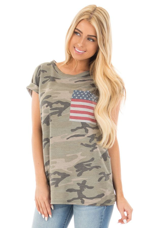 Lime Lush Boutique - Olive Camo Tee with American Flag Breast Pocket 899eb923708