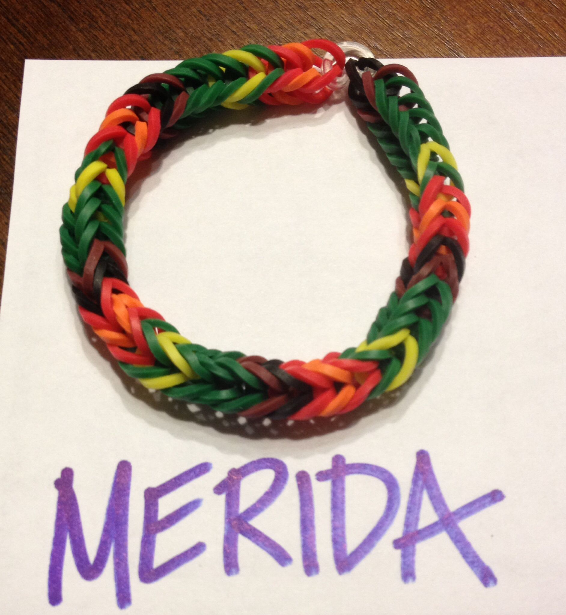 9527b52aedc6 Disney Girls Rubber Band bracelet: Merida inspired colors. | Rainbow ...