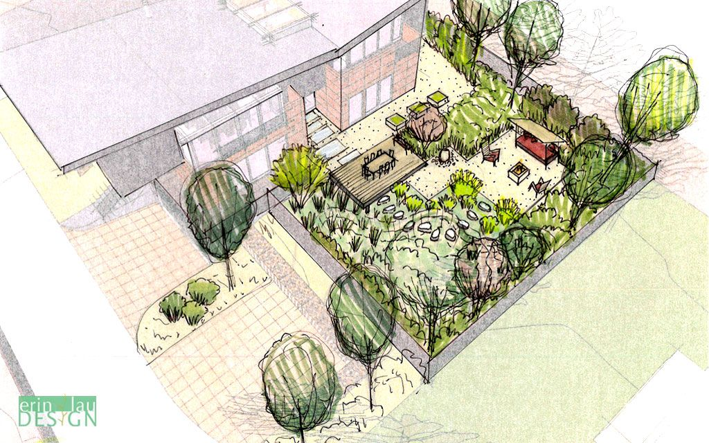 birds eye view of back yard with rain garden and seating areas sketch - Garden Design Birds Eye View