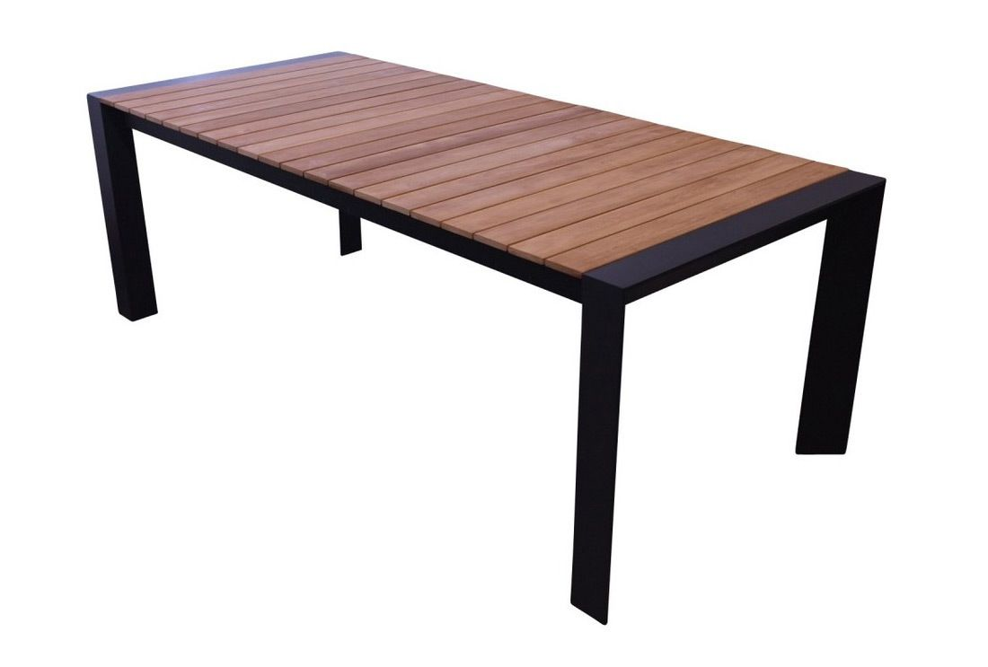 Orlando outdoor extending dining table with teak top, 220 ...