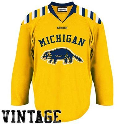 Reebok Michigan Wolverines Premier Hockey Jersey Maize Navy Blue Michigan Athletics Hockey Jersey Michigan Hockey