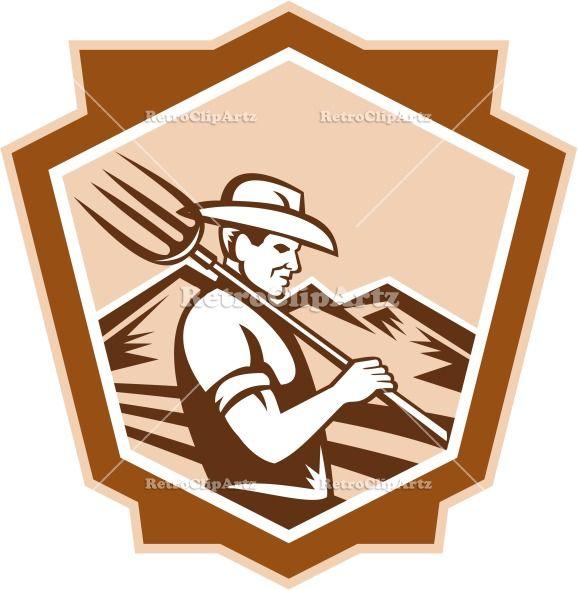 agriculture, artwork, crest, farm worker, farmer, graphics, illustration, organic, organic farmer, pitchfork, prong, retro, shield, trident,...