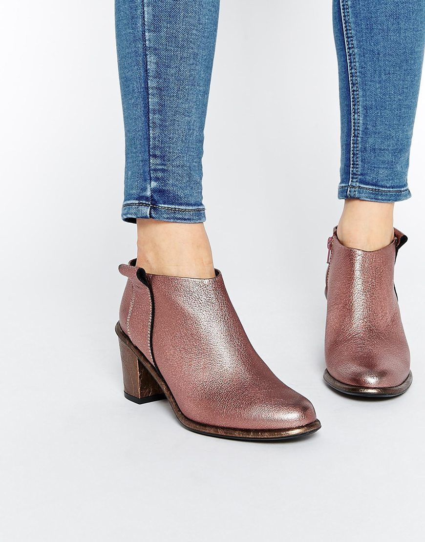 Miista Anais Low Cut Leather Heeled Ankle Boots | More Leather ...