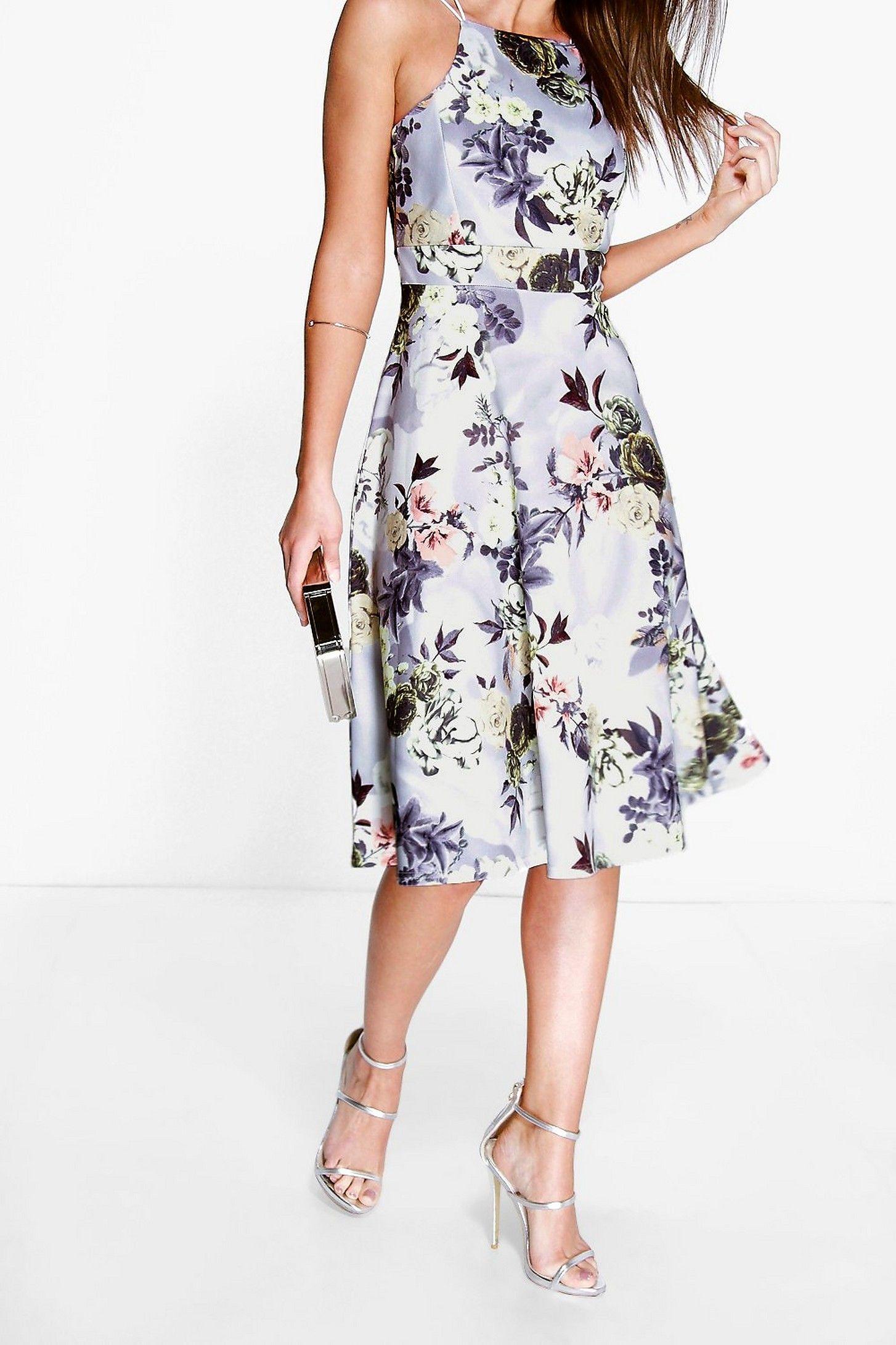 Floral Print Strappy Full Skater Dress Boohoo Dresses Macy Dresses Bodycon Fashion [ 2181 x 1454 Pixel ]