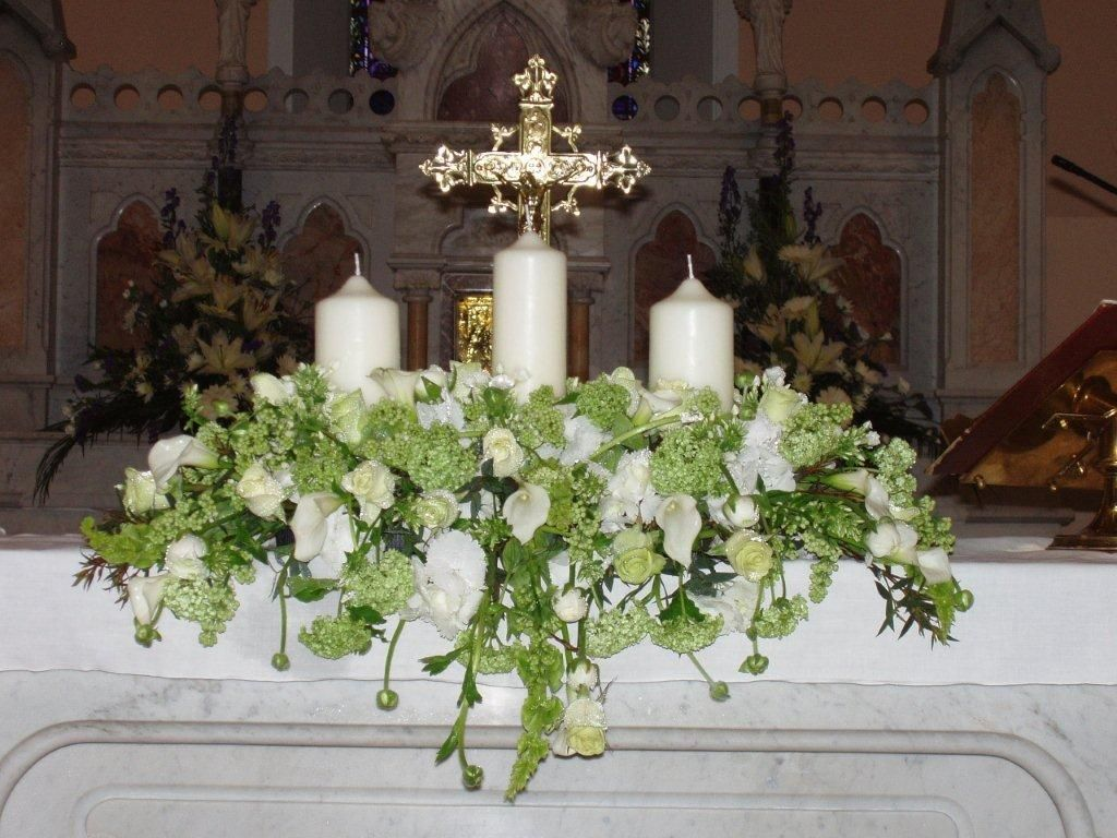 Three candle altar arrangement communion table idea 39 s for Altar wedding decoration