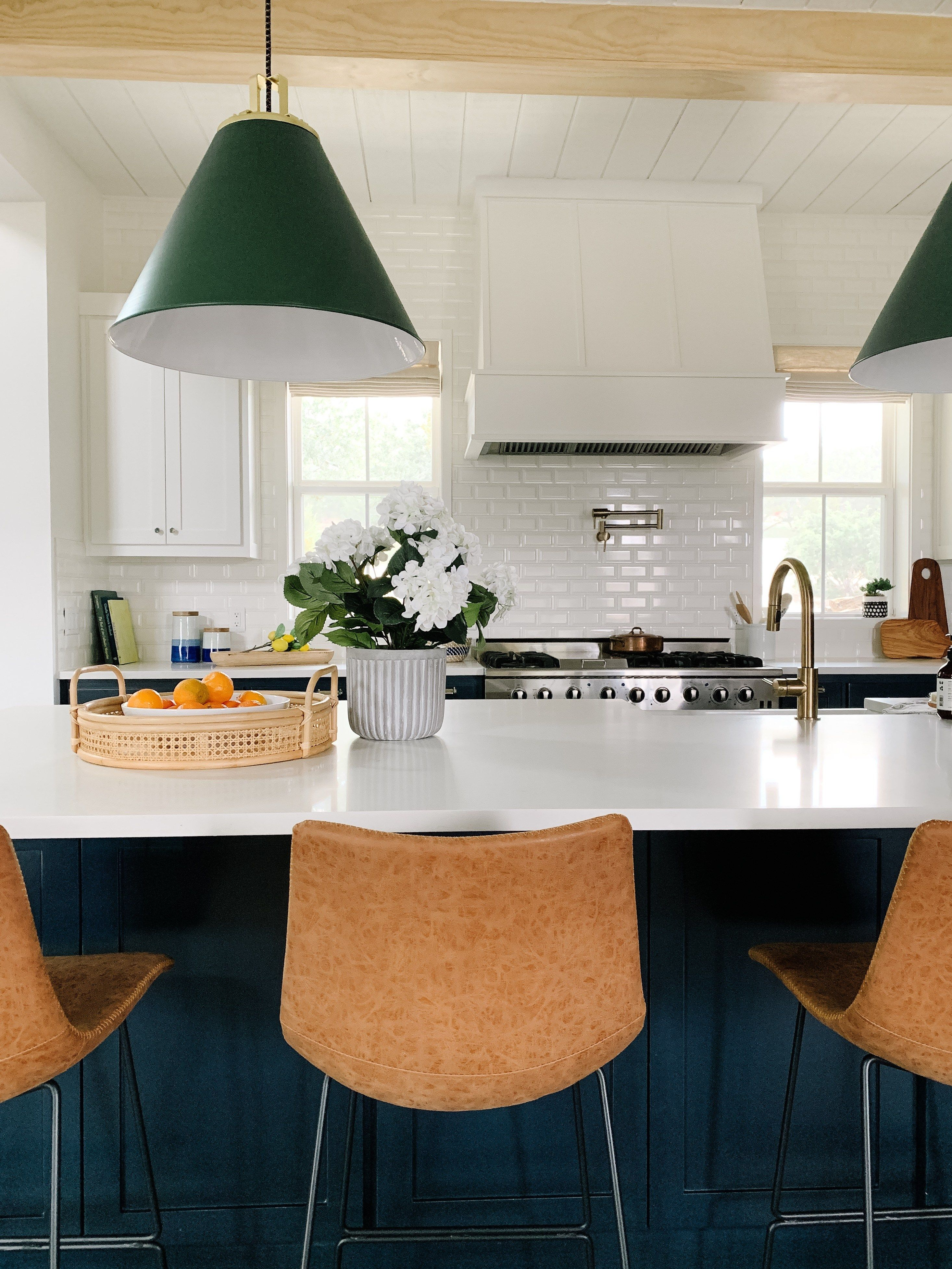 Hale navy kitchen and leather stools black