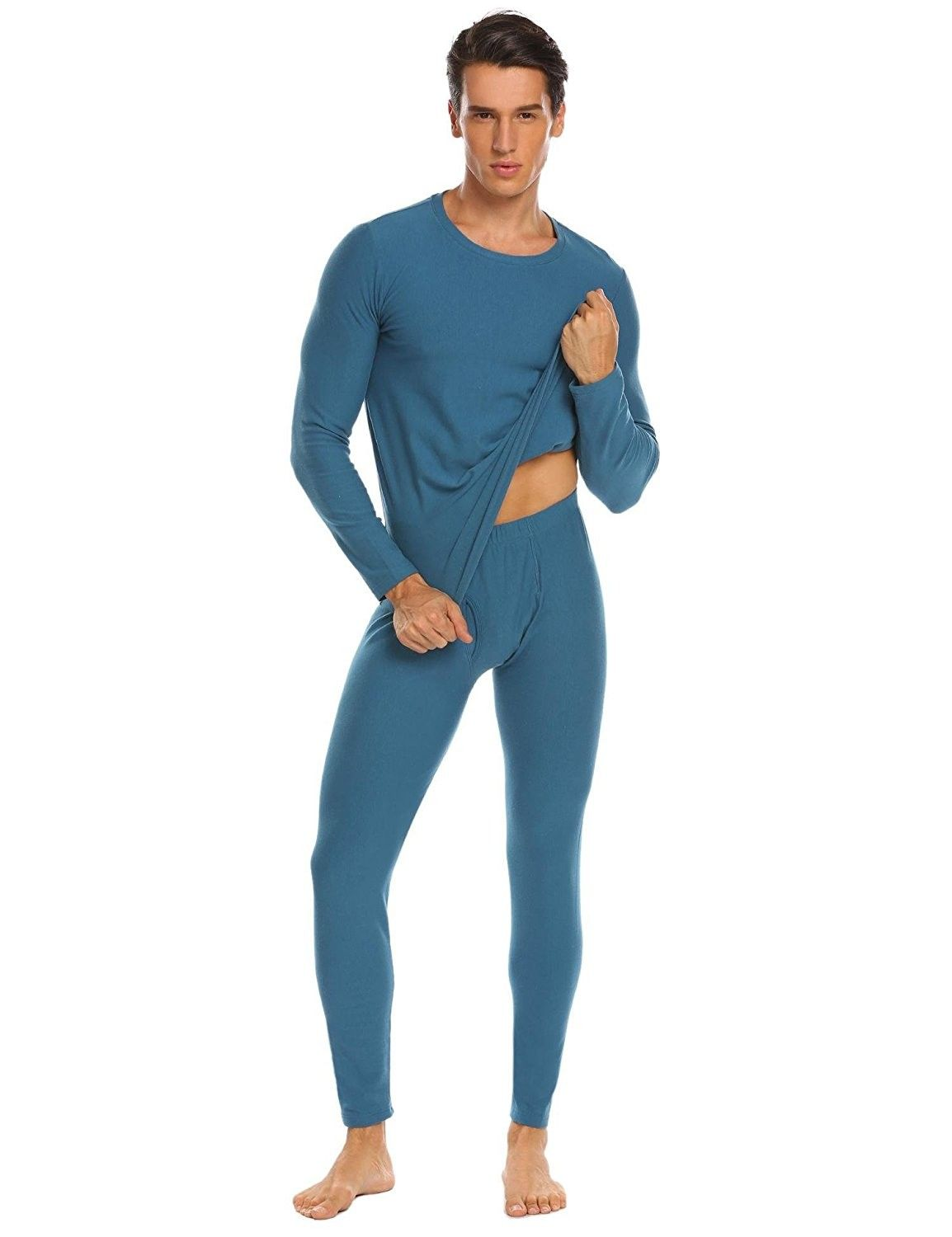 8571dc54b820 Mens Long Johns Cotton Thermal Underwear Fleece Lined Base Layer ...