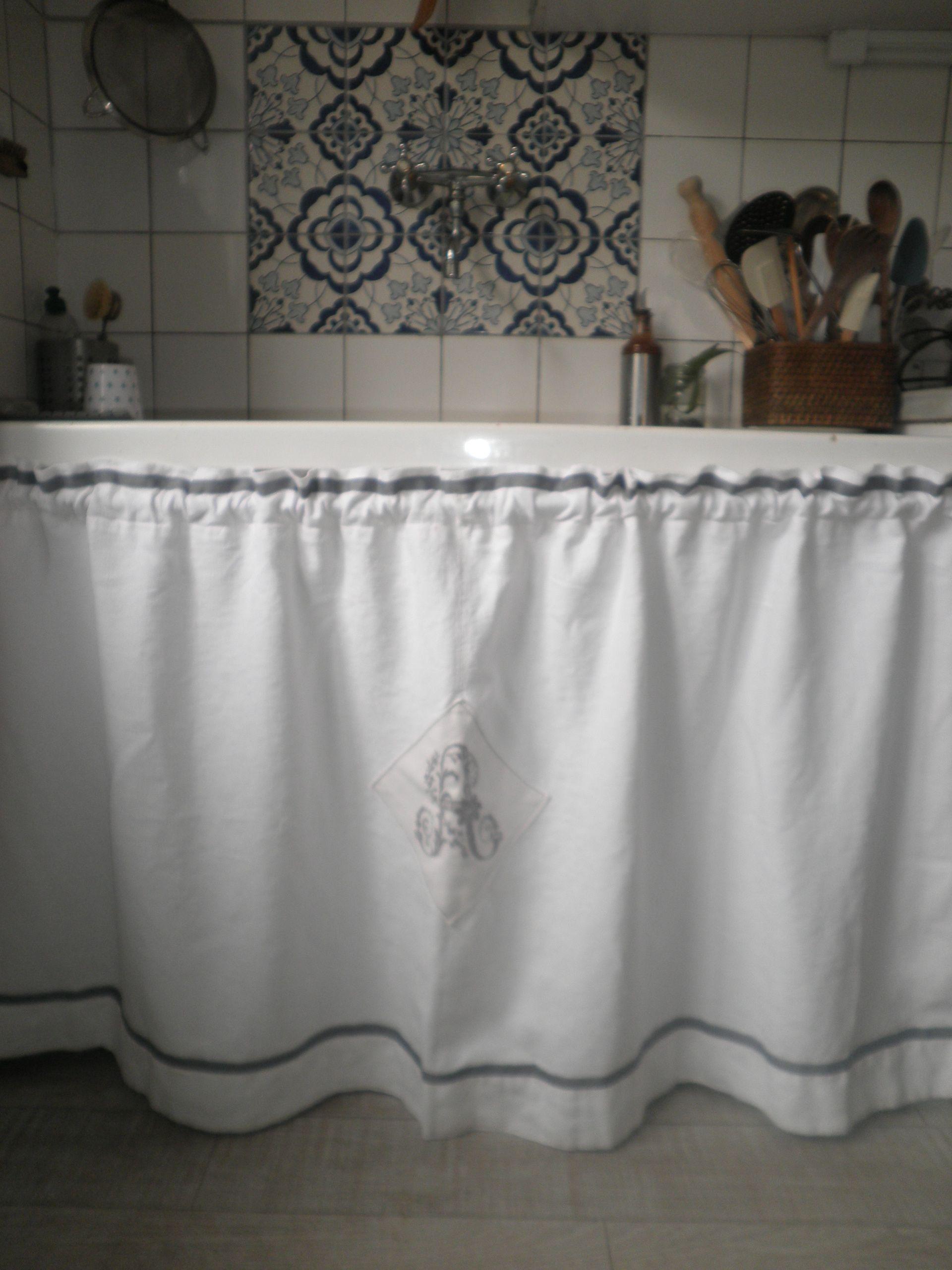 Rideau d 39 vier confectionn dans un drap de lin cuisine - Rideau sous evier cuisine ...