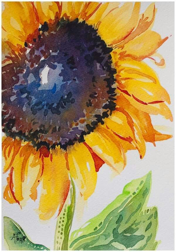 Blue In The Center Sunflower Art Sunflower Painting Watercolor