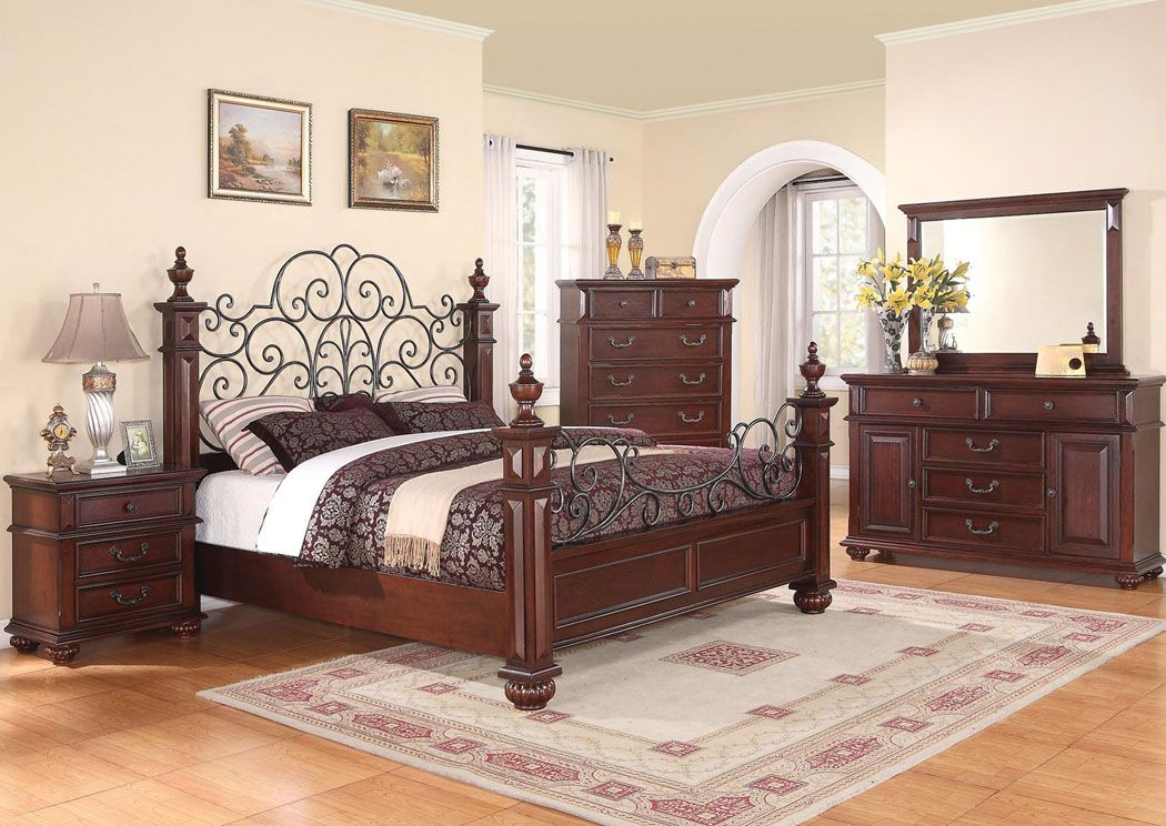 Kessner Cherry Queen Bed, Dresser and Mirror peaceful