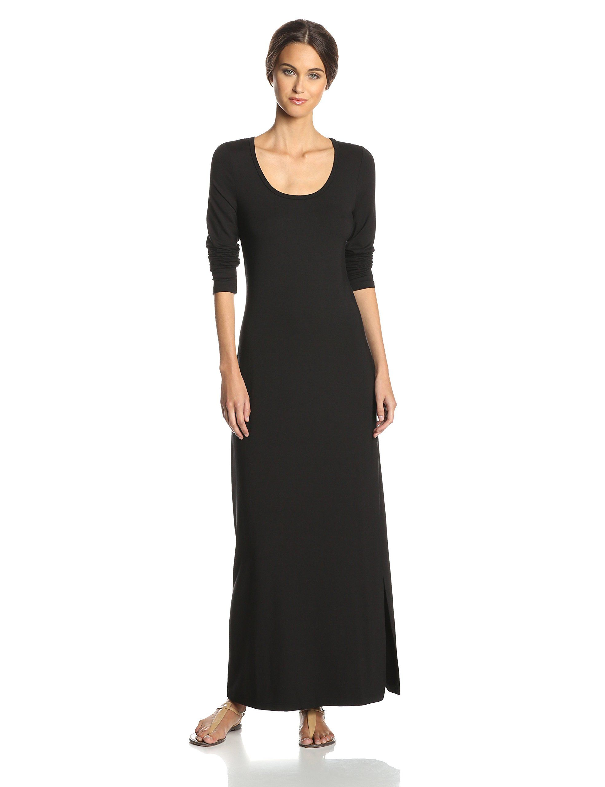 Karen kane womenus long sleeve maxi dress black window shopping
