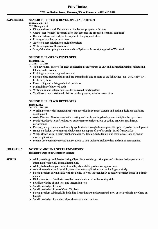 Entry Level Java Developer Resume Awesome Senior Full Stack