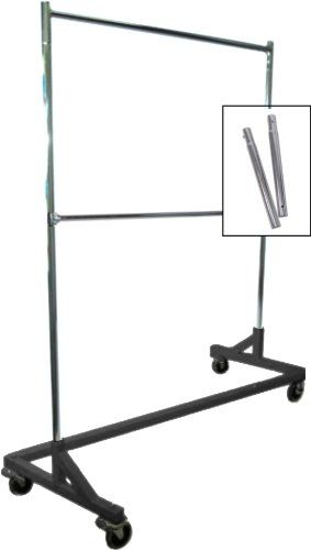 Extended Height Double-Rail Rolling Z Rack Garment Rack With Nesting Black Base, 2015 Amazon Top Rated Garment Racks #Home