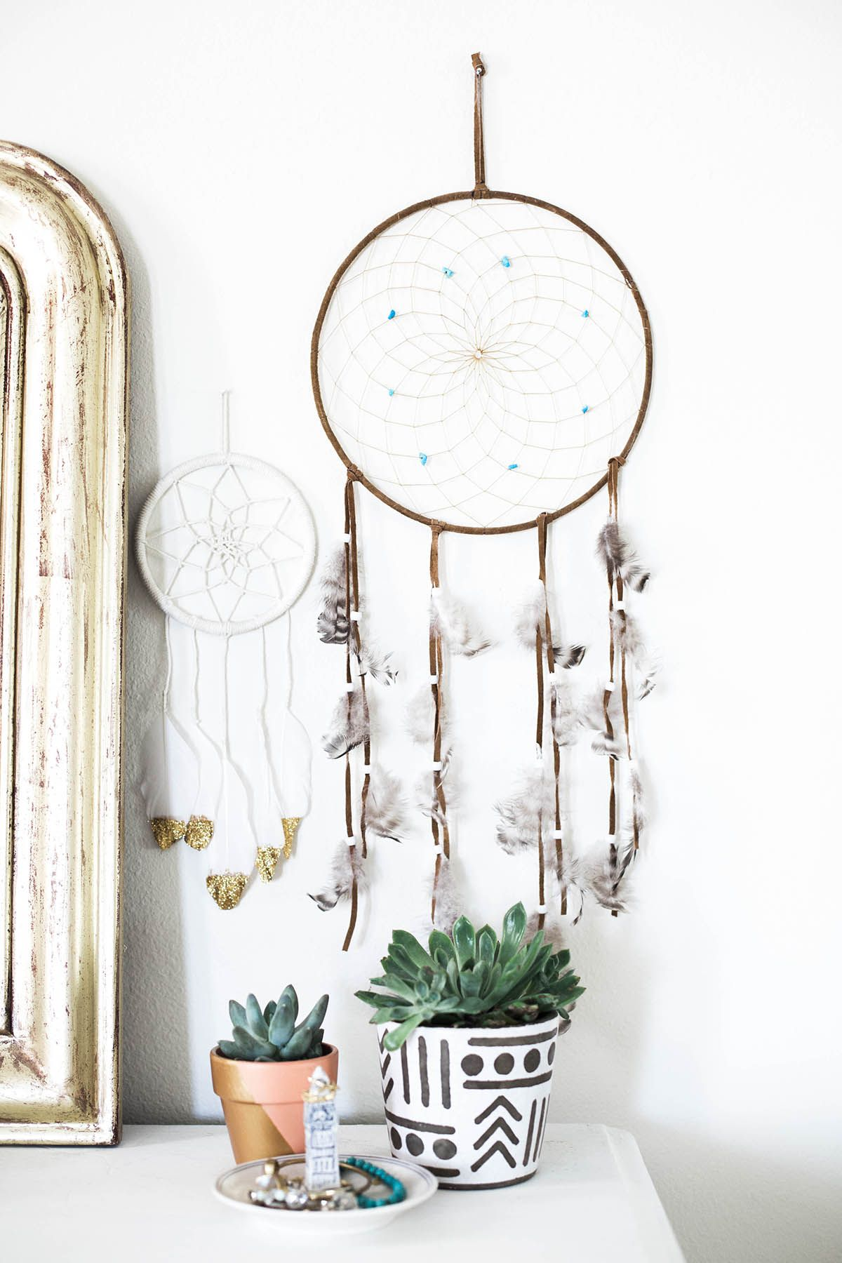 Dresser Decor Idea Bright Bohemian Bedroom Dream Catchers Succulents Urban Outfitters Ceramic Plant Pot Home Styling