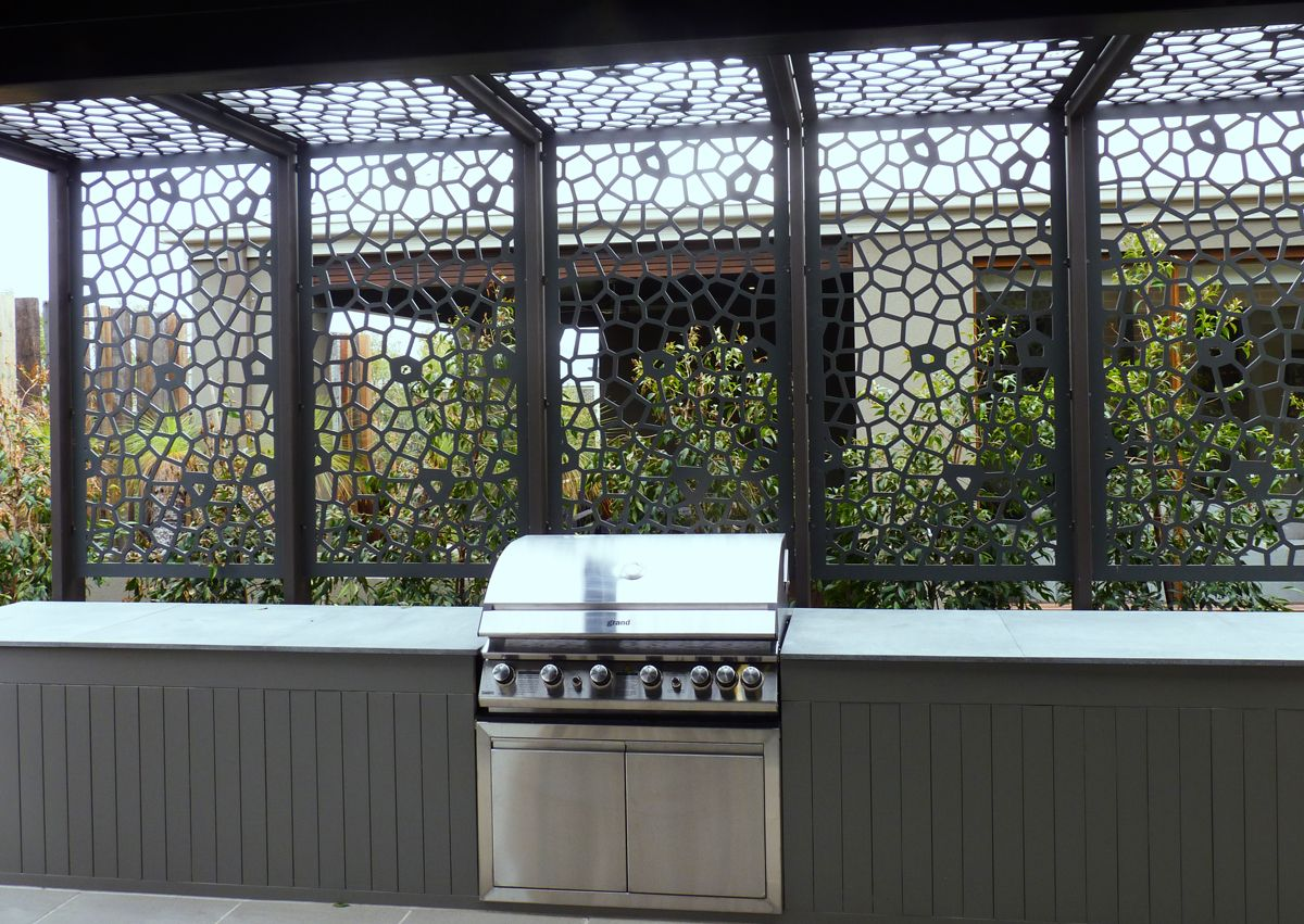 Decorative screens can enclose a patio space in unique and for Outdoor decorative screens