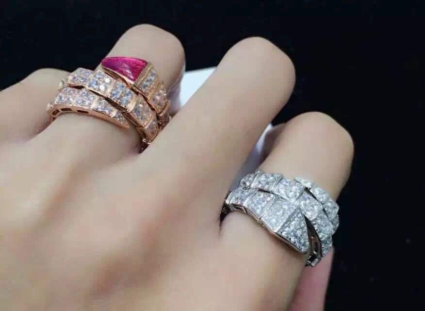 bvlgari serpenti double row diamond ring feature cutting edge designs are the finest metals and stones