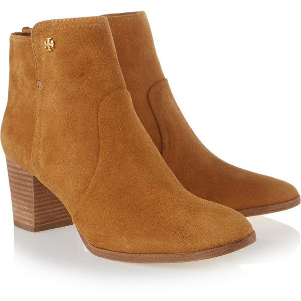 Tory Burch Sabe suede ankle boots ($230) ❤ liked on Polyvore featuring shoes ,