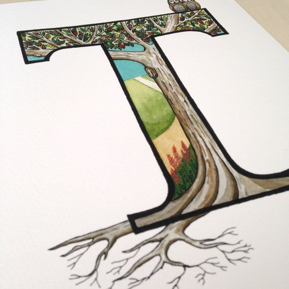 The Letter T Tree With Roots Illustration By