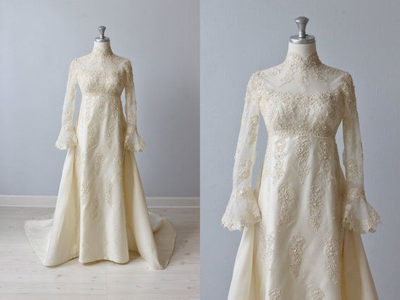Lace Wedding Dress / 1960s Wedding Dress / Sheath Wedding Dress ...
