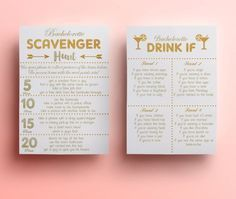 scavenger hunt game instant download bachelorette drink if drinking game gold glitter hens party