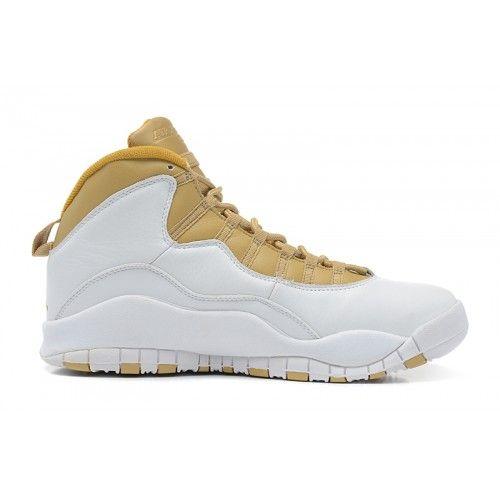 Discount Authentic 310805-142 Mens Nike Air Jordan 10 Retro White/Linen-University Blue