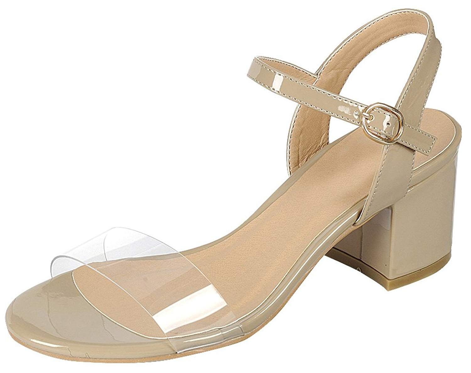 970a2c8c2c8 Cambridge Select Women s Open Toe Single Band Clear See Through Buckled  Ankle Chunky Block Mid Heel