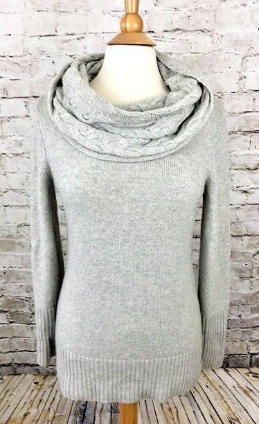 Banana Republic Womens Sz M Gray Cowl Neck Sweater Italian Merino ...